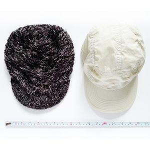 LOT 2 Baseball Cap & Knit Brimmer Beanie Hat